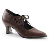 Marron Mate 7 cm retro vintage VICTORIAN-03 zapatos de salón tacón bajo