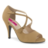 Marron Polipiel 10 cm DREAM-412 sandalias tallas grandes