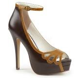 Marron Polipiel 13,5 cm BELLA-31 zapatos de salón punta abierta