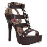 Marron Polipiel 14,5 cm Burlesque TEEZE-42W tacones altos pies anchos hombre