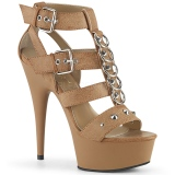 Marron Polipiel 15 cm DELIGHT-658 Zapatos pleaser con tacones altos