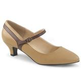Marron Polipiel 5 cm FAB-425 zapatos de salón tallas grandes