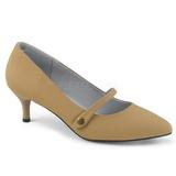 Marron Polipiel 6,5 cm KITTEN-03 zapatos de salón tallas grandes
