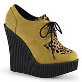 Marron Polipiel CREEPER-304 zapatos de cunas creepers mujer