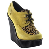 Marron Polipiel CREEPER-304 zapatos de cuñas creepers mujer
