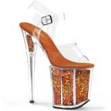 Naranja 20 cm FLAMINGO-808GF brillo plataforma sandalias de tacón alto