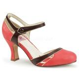 Naranja 7,5 cm FLAPPER-27 Pinup zapatos de salón tacón bajo