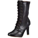 Negro 10,5 cm TESLA-102 botines de mujer con cordones