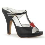 Negro 10 cm retro vintage SIREN-09 Mulas Tacones Altos Mujer