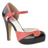 Negro 11,5 cm BETTIE-17 Pinup zapatos de salón con plataforma escondida