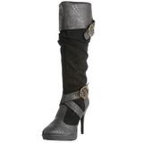Negro 11,5 cm CARRIBEAN-216 plataforma botas de mujer con hebillas