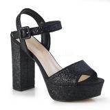 Negro 11,5 cm CELESTE-09 sandalias con tacón bloque y plataforma glitter