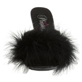 Negro 11,5 cm FLAIR-401F Tacón plumas de marabu Mules Calzado