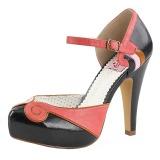Negro 11,5 cm retro vintage BETTIE-17 Pinup zapatos de salón con plataforma escondida