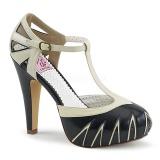 Negro 11,5 cm retro vintage BETTIE-25 Pinup zapatos de salón con plataforma escondida