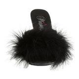 Negro 11 cm Pleaser CARESS-401F Tacón plumas de marabu Mules Calzado