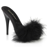 Negro 13 cm POISE-501F Tacón plumas de marabu Mules Calzado