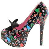 Negro 14,5 cm Burlesque TEEZE-12-4 Zapatos de tacón altos mujer