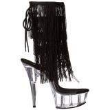 Negro 15 cm DELIGHT-1017TF botines con flecos de mujer tacón altos