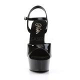 Negro 15 cm DELIGHT-609 tacones altos pleaser con plataforma