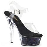 Negro 15 cm KISS-208GF brillo plataforma sandalias de tacón alto