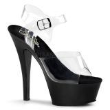 Negro 15 cm Pleaser KISS-208 Zapatos Tacón Aguja Plataforma