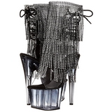 Negro 18 cm ADORE-1017RSFT botines con flecos de mujer tacón altos