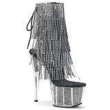 Negro 18 cm ADORE-1017SRS botines con flecos de mujer tacón altos