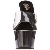 Negro 18 cm ADORE-701-4 Brillo Plataforma Mules Altos