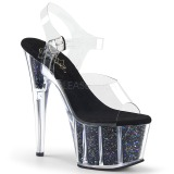 Negro 18 cm ADORE-708CG brillo plataforma sandalias de tacón alto