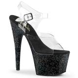 Negro 18 cm ADORE-708MG brillo plataforma sandalias de tacón alto