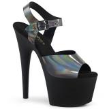 Negro 18 cm ADORE-708N-DT Holograma plataforma sandalias de tacón alto