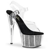 Negro 18 cm ADORE-708SRS Sandalias Mujer Plataforma Strass