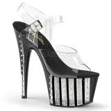 Negro 18 cm ADORE-708VLRS plataforma zapatos de tacón con piedras