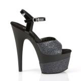 Negro 18 cm ADORE-709-2G brillo plataforma sandalias de tacón alto
