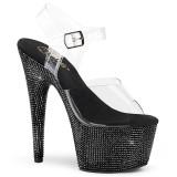 Negro 18 cm BEJEWELED-708DM plataforma zapatos de tacón con piedras