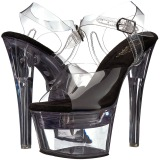 Negro 18 cm FLASHDANCE-708 sandalias stripper con luz LED