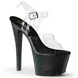 Negro 18 cm Pleaser SKY-308MG brillo sandalias de tacón alto