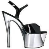 Negro 18 cm Pleaser SKY-309 Zapatos Tacón Aguja Cromo Plataforma