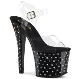 Negro 18 cm RADIANT-708SDT plataforma zapatos de tacón con piedras