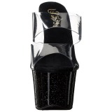 Negro 18 cm SKY-302MG brillo plataforma zuecos de tacón