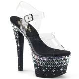 Negro 18 cm SKY-308CROSS plataforma zapatos de tacón con piedras