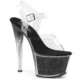 Negro 18 cm SKY-308G-T brillo plataforma sandalias de tacón alto