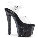 Negro 18 cm SKY-308LG brillo plataforma sandalias de tacón alto