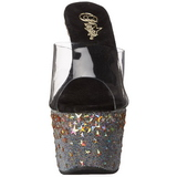 Negro 18 cm STARSPLASH-701 Estrella Plataforma Zapatos Estilo Mules