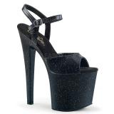Negro 19 cm TABOO-709MMG brillo plataforma sandalias de tacón alto