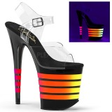Negro 20 cm FLAMINGO-808UVLN Sandalias Mujer Plataforma Neon