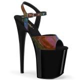 Negro 20 cm FLAMINGO-809RBDT Holograma plataforma sandalias de tacón alto
