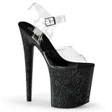 Negro 20 cm Pleaser FLAMINGO-808MG brillo sandalias de tacón alto