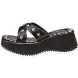 Negro 6,5 cm FLIP-05 Góticos Chanclas Mujer Plataforma